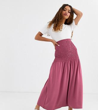 Asos DESIGN Petite shirred bask maxi skirt