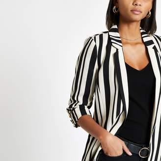 River Island Womens Black stripe ruched sleeve blazer