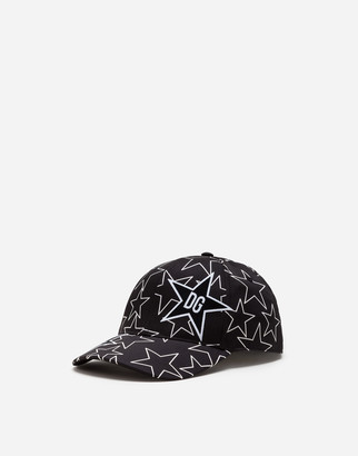 Dolce & Gabbana Stretch Cotton Baseball Cap With Star Print And Patch