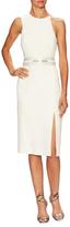 Halston Asymmetrical Sash Belt Midi Dress