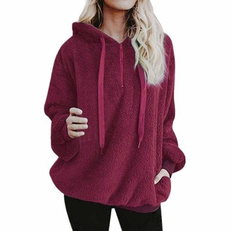 DOMBX Women's Oversized Warm Teddy Fleece Sweatshirt Pullover Jumper for Autumn Winter Womens Ladies Casual Fashion Half Zipper Long Sleeve Solid Color Slim Fit Hooded Hoodie Coat Jacket Outwear Red