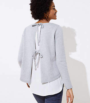 LOFT Mixed Media Tie Back Sweater