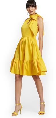 New York & Co. Yellow Bow-Neck Halter Dress