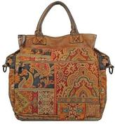 Wilsons Leather Womens Vintage Tapestry Multi Color Tote W/Blue Trim Multi-Color