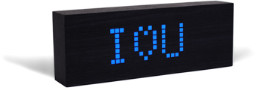 GINGKO Black Message Click Clock With Blue LED - Black/Blue