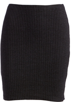 Three Dots Charcoal Ribbed Miniskirt