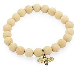Sydney Evan Women's 14K Yellow Gold, Two-Tone Diamond, Sapphire & White Coral Bee Charm Beaded Bracelet
