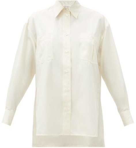 Victoria Beckham Patch-pocket Silk-satin Blouse - Cream