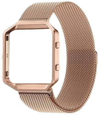 Fitbit POSH TECH Large Stainless Steel Band with Frame for Blaze - Rose Gold