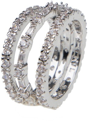 Cz By Kenneth Jay Lane Round & Baguette Cut CZ Eternity Band