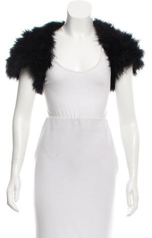 Cassin Feather-Trimmed Evening Shrug