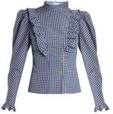 Vika Gazinskaya High-neck ruffle-trimmed gingham blouse