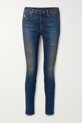R 13 Alison Distressed High-rise Skinny Jeans - Blue