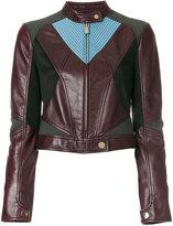 Versace contrast panel biker jacket - women - Leather/Polyamide/Spandex/Elastane/Viscose - 42