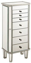 "clear Elegant Lighting 7 Drawer Jewelry Armoire L18""W12""H41"" Silver Clear, Silver Mirro"