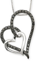 Black Diamond FINE JEWELRY 1/10 CT. T.W. Color-Enhanced Double Heart Pendant Necklace
