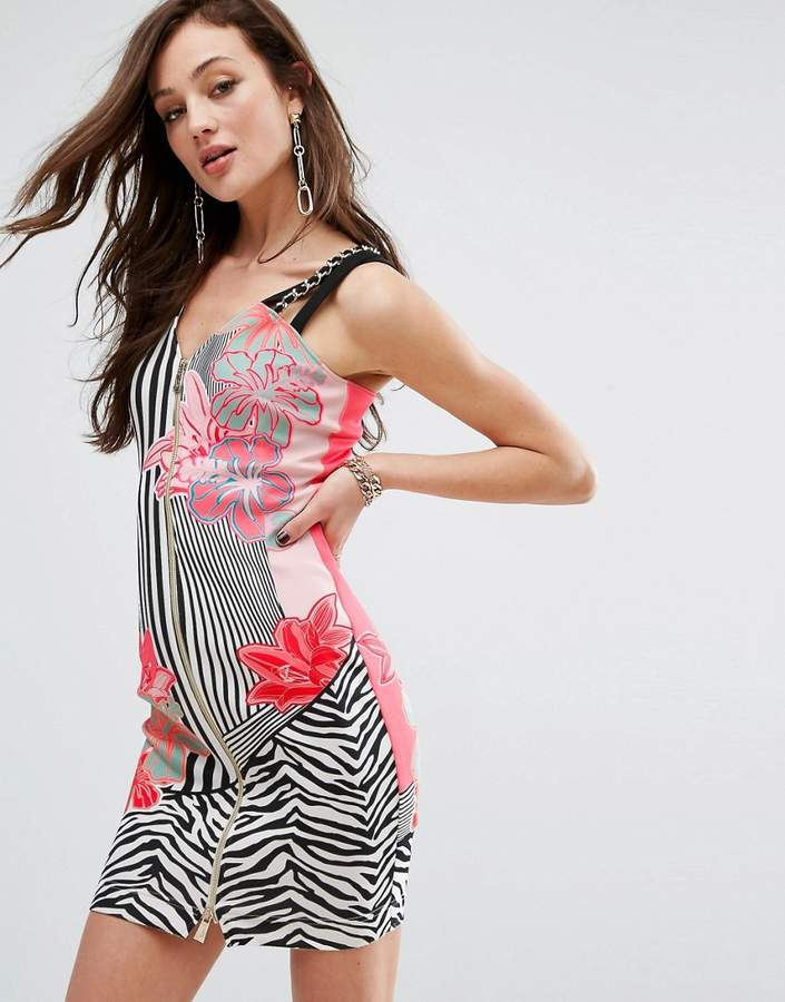 Versace Stripe Zip Front Dress with Floral Print