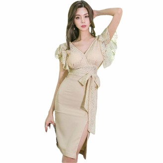QPXZ Printed Maxi Skirt Pencil Office Lady Dress Backless Small Sexy V-Neck Lace Butterfly Sleeve Slim High Waist Lace Elegant Party Dress Women-A_S
