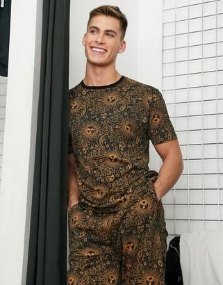 ASOS DESIGN pyjama short and tshirt set in black with constallation print