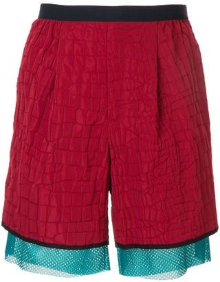 Kolor Croc-Embossed Shell Shorts