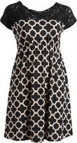 Glam Black Lace-Accent Quatrefoil Cap-Sleeve Dress - Plus