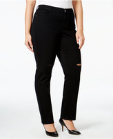Style&Co. Style & Co. Plus Size Distressed Black Wash Slim-Leg Jeans, Only at Macy's