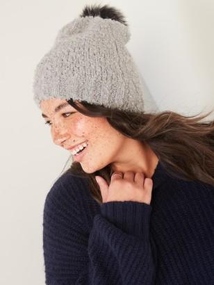Old Navy Cozy Boucle Faux-Fur Pom-Pom Beanie Hat for Women
