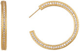 Freida Rothman 14K Gold Plated Sterling Silver Classics Pave CZ Inside Out Hoop Earrings