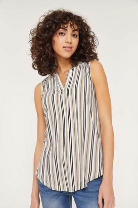 Ardene Sleeveless Striped V-neck Top - Clothing  