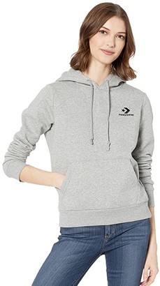 Converse Embroidered Fleece Pullover Hoodie (Vintage Grey Heather) Women's Clothing