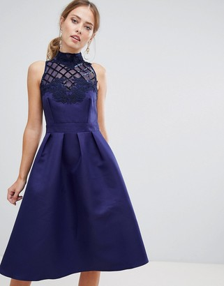 Little Mistress high neck prom dress with floral applique and sequin detail