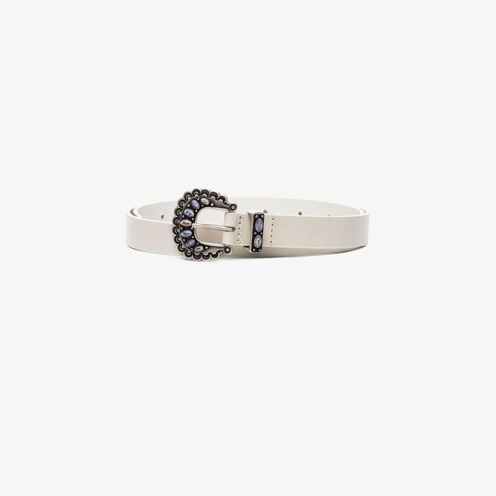 Isabel Marant white Temoia embellished leather belt