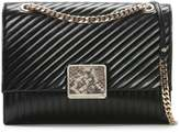 Class Roberto Cavalli Large Celebrity Black Leather Quilted Shoulder Bag