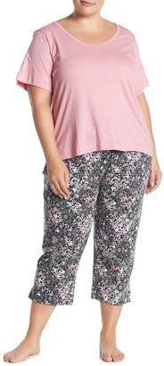 Joe Fresh Short Sleeve Top & Floral Capris Pajama 2-Piece Set (Plus Size)