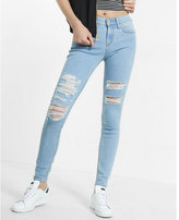 Express distressed mid rise jean leggings
