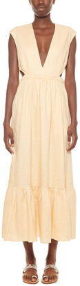 Tibi Canvas V-Neck Cut Out Linen Dress