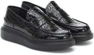 Alexander McQueen Leather croc-effect loafers