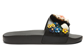 Dolce & Gabbana Floral-embellished leather and rubber slides