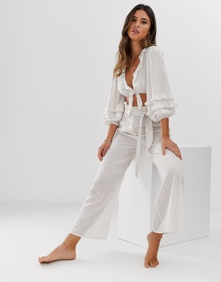 Fashion Union beach two-piece with tie crop top and high waist culottes in stripe