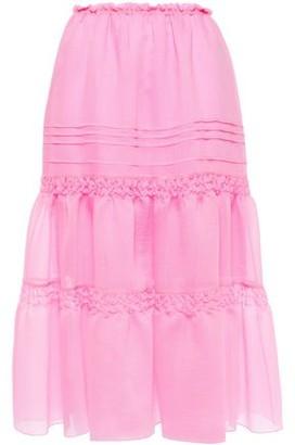 See by Chloe Smocked Georgette Midi Skirt