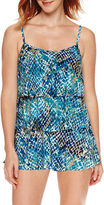 Jamaica Bay Muted Reptile Triple-Tier Swimdress