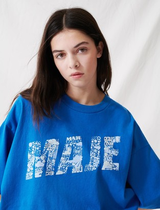 Maje Screen-printed cropped T-shirt