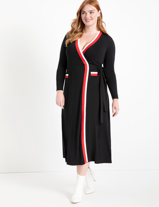 ELOQUII Maxi Wrap Dress with Contrast Tipping