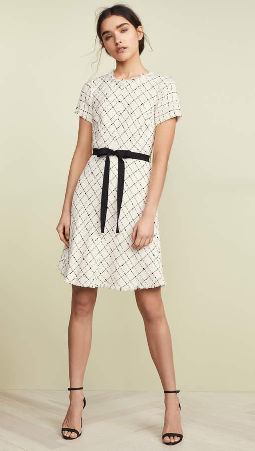 Rebecca Taylor Short Sleeve Plaid Tweed Dress