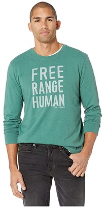 Life is Good Free Range Human Crusher Long Sleeve T-Shirt (Heather Forest Green) Men's T Shirt