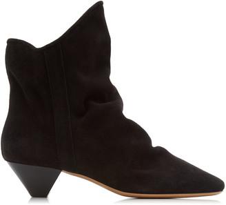 Isabel Marant Women's Doey Suede Ankle Boots - Black/grey - Moda Operandi
