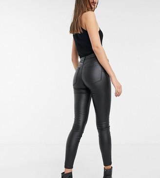 Stradivarius Tall coated push up skinny jean in black