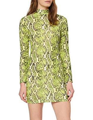 Quiz Women's Neon Green Snake Print Long Sleeve Bodycon Dress Party 001, 6 (Size:6)