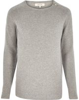 River Island Mens Grey zip neck jumper