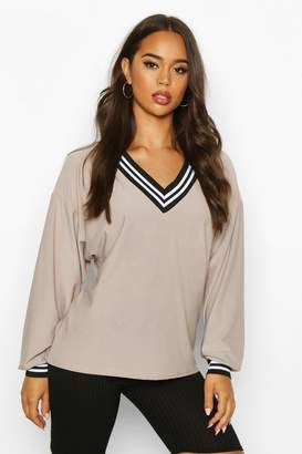 boohoo Deep Striped V Neck Slouched Top